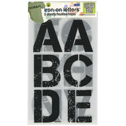 """Soft Flex Iron-On Letters 3"""" Distressed-Black 5/Sheets"""