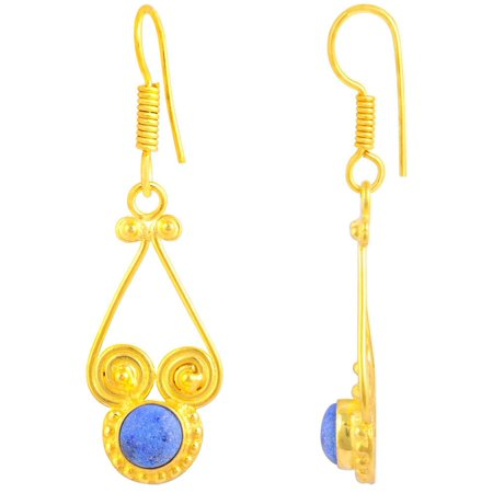 - Orchid Jewelry Mfg Inc Orchid Jewelry Gold Plated 2 1/9ct. Round-cut Lapis Lazuli Fashion Earrings