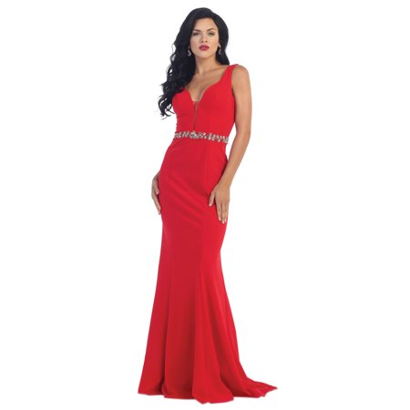 SIMPLE LONG PROM DRESS & PLUS SIZE - Red Undergarments