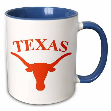 3dRose Texas Longhorn - Two Tone Blue Mug, (Ncaa Texas Longhorns Mugs)