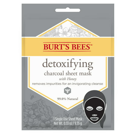 (2 Pack) Burt's Bees Detoxifying Charcoal Sheet Mask, Single Use Sheet Mask, 1