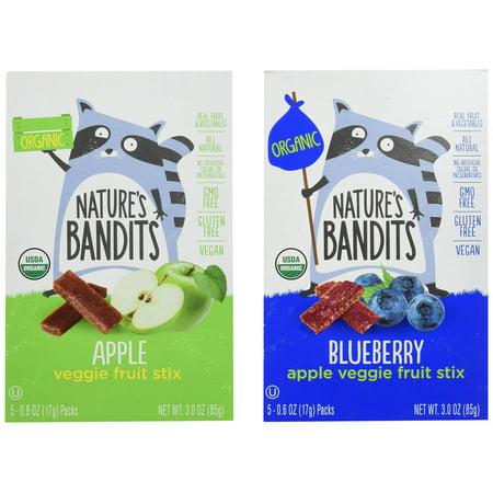 Kosher Vegan Gluten Free - Nature's Bandits Organic Fruit & Veggie Stix, Variety Pack (Apple & Blueberry), 0.6 Ounce 5 Pack (2 Count) Gluten Free, Vegan, Kosher Variety (Apple & Blueberry) Kidâ??s 0.6 oz - 2 Boxes of 5 Bags eac