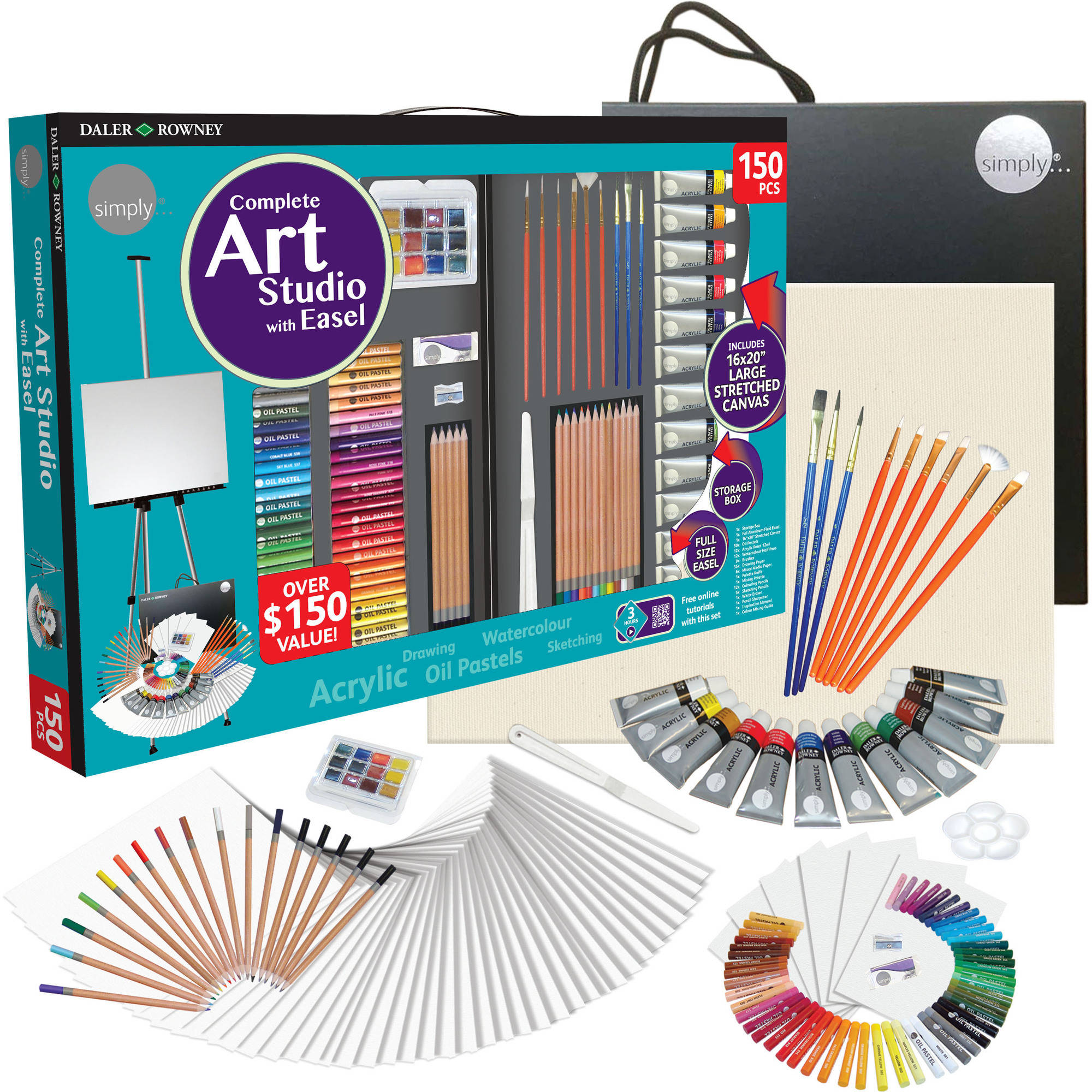 Daler Rowney Simply Complete Art Easel Studio Set 150 Piece Walmart Com