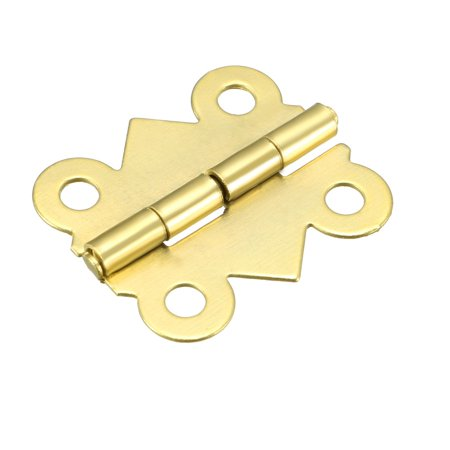 "0.79"" Golden Hinges Butterfly Shape Hinge Replacement with Screws 50pcs - image 6 of 6"