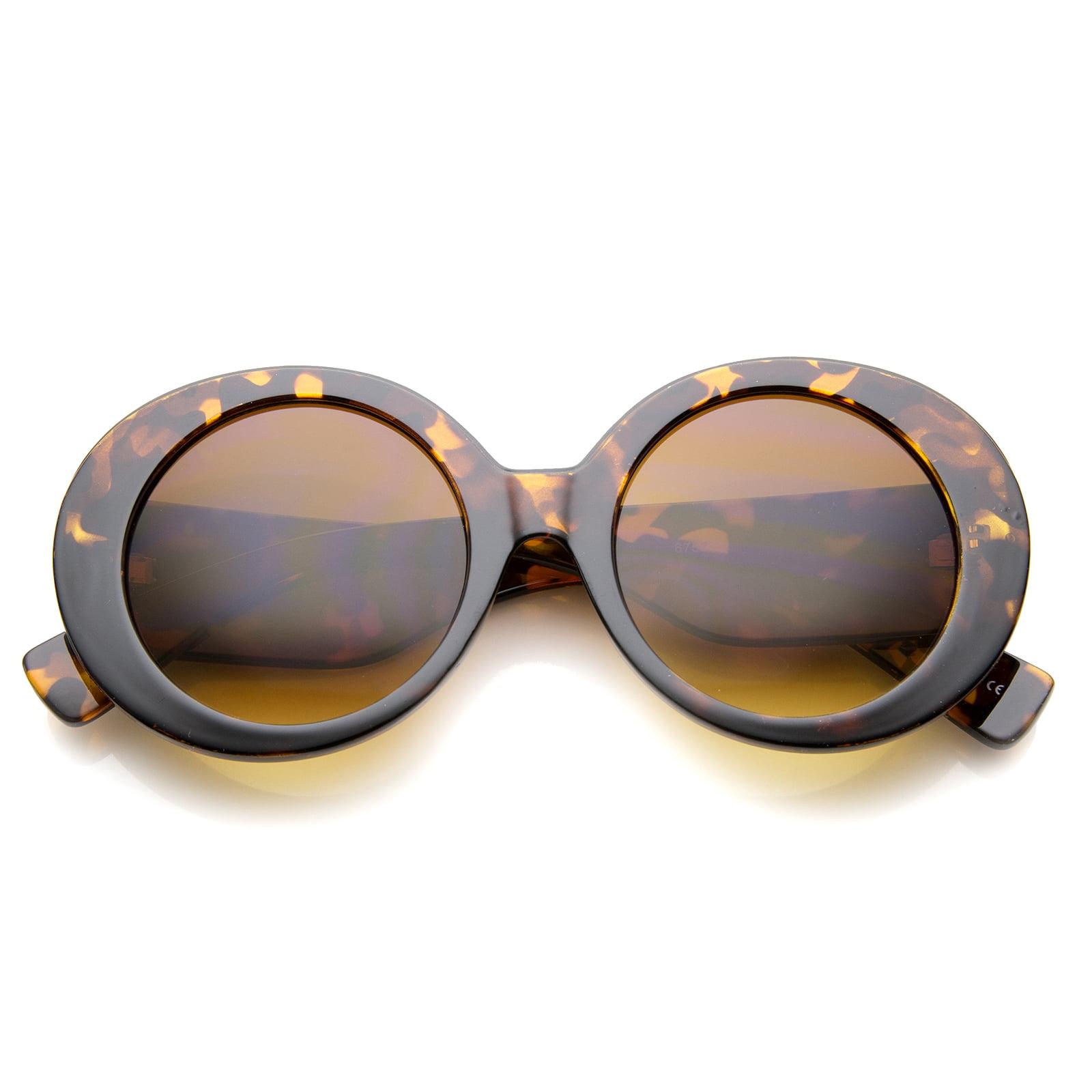 sunglassLA - Womens High Fashion Glam Chunky Round Oversize Sunglasses - 50mm
