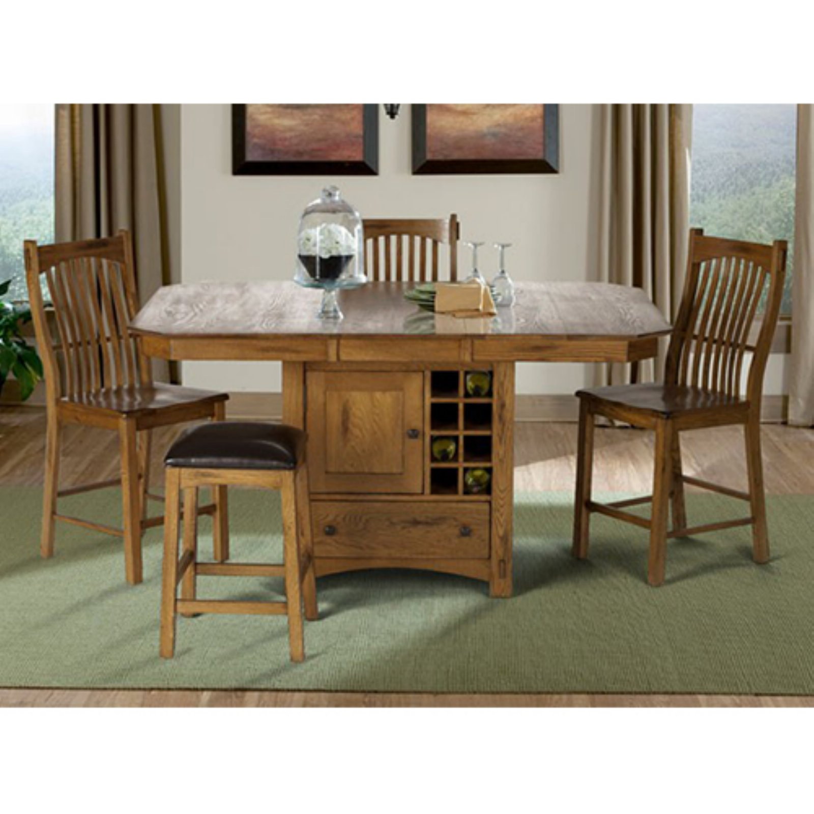 A America Laurelhurst Wine Storage Counter Height Dining Table   Rustic Oak
