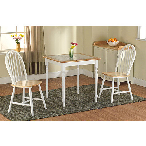 3-Piece Tile Top Dining Set, White/Natural