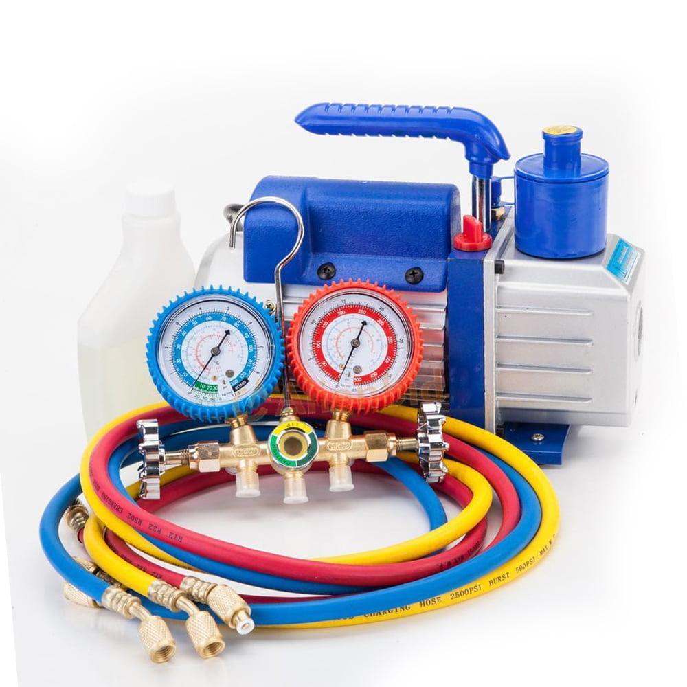 Zimtown Combo 3CFM Vane Vacuum Pump & Manifold Gauge, Include 1/4HP Rotary Vane Vacuum Pump & R134 HVAC AC Manifold Gauge Refrigerant Kit