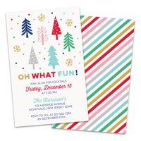 Personalized Fun and Colorful Trees Holiday Party invitations