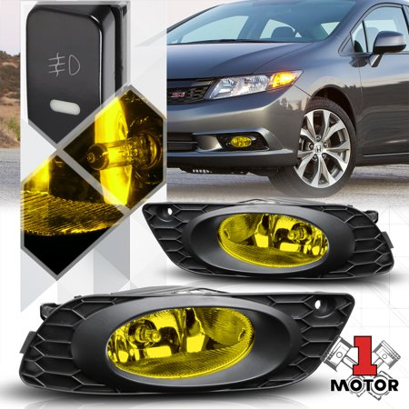 Yellow Fog Light Bumper Lamps w/Switch+Harness+Bezel for 2012 Honda Civic Sedan ()