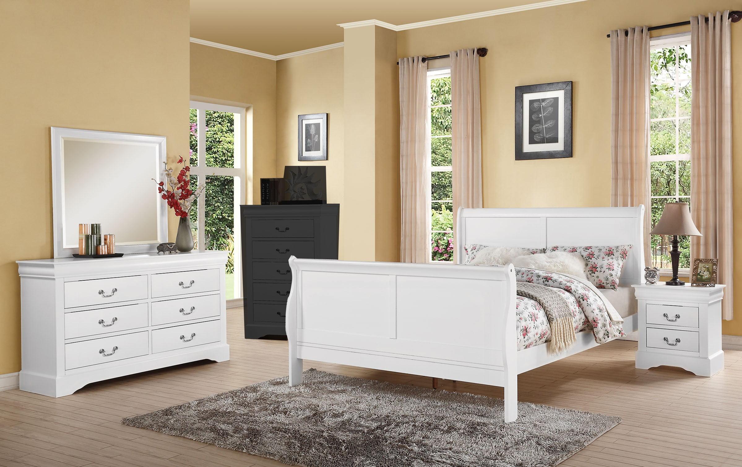 4pcs white king sleigh bedroom set  walmart  walmart