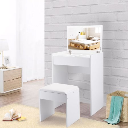 Vanity Table and Upholstered Bench Set with Flip Top Mirror Drawer Jewelry Cabinet White