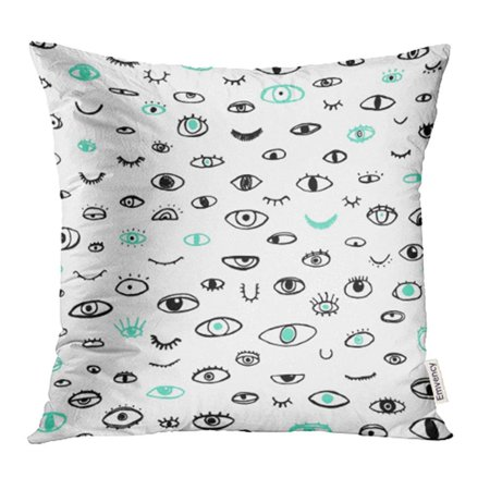 USART Hand of Eyes on White Bohemian Trendy Style Doodle Draw Sketch Boho Open 80S Pop Pillowcase Cushion Cases 20x20 (Doodle Pops)