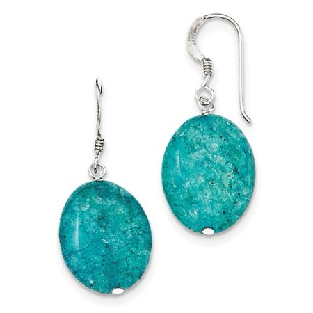 Sterling Silver Small Crack Aventurine Teal Dangle Earrings (1.4IN x 0.6IN )