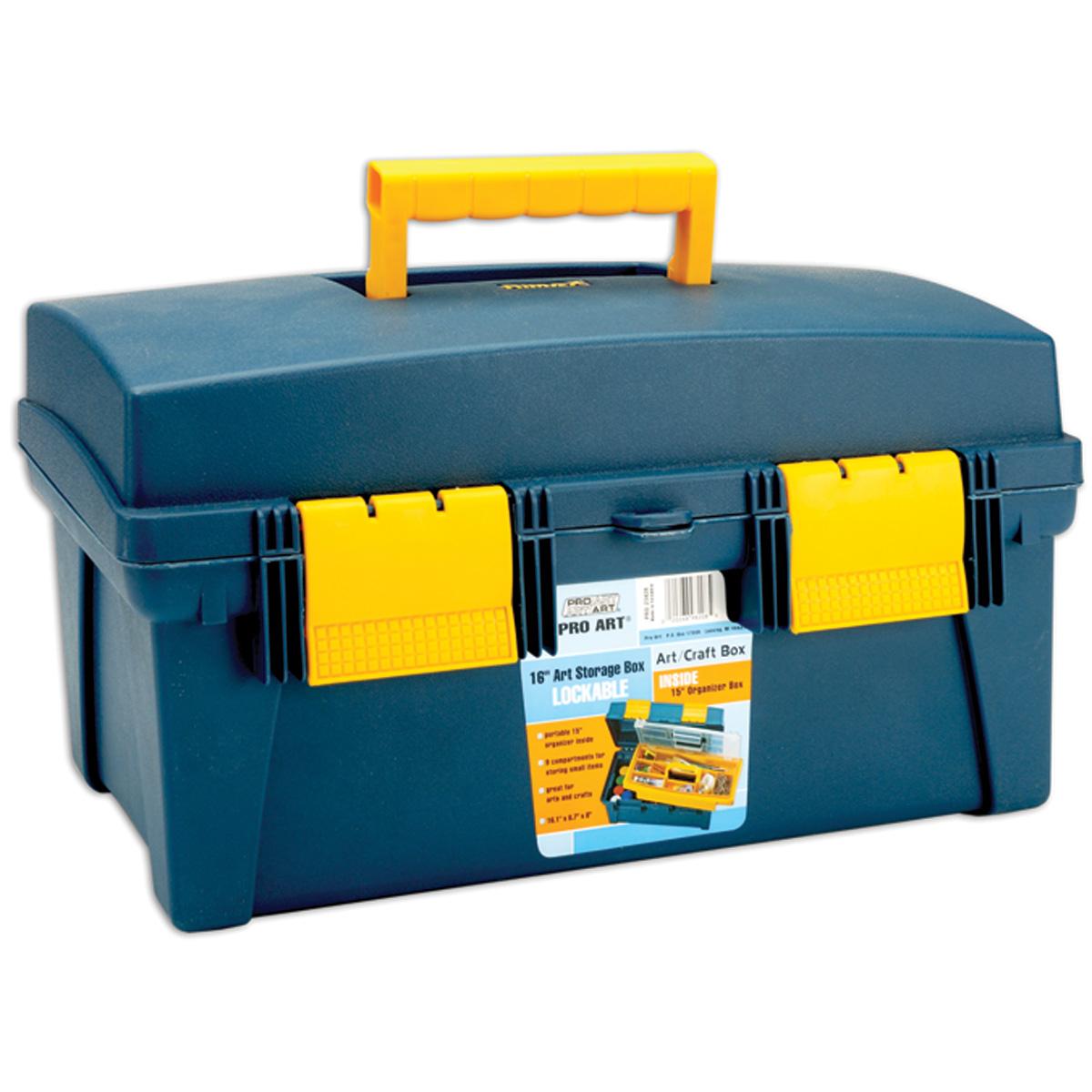 "Pro Art Storage Box With Inner Tray 16""x8.9""x8.6"", Blue/Yellow"