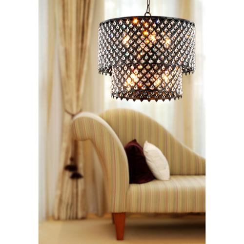 The Lighting Antique Black 8 Light Double Round Crystal Chandelier