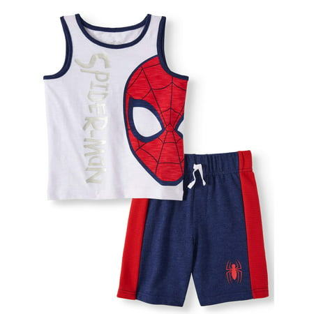 SPIDERMAN Graphic Muscle Tank & Drawstring French Terry Short, 2pc Outfit Set (Toddler Boys)