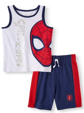 c5330150 Product Image SPIDERMAN Graphic Muscle Tank & Drawstring French Terry Short,  2pc Outfit Set (Toddler Boys