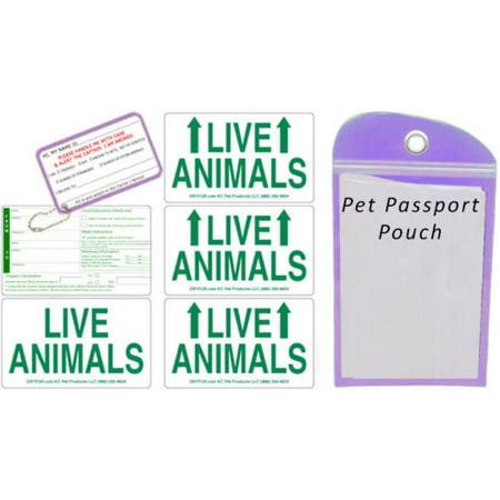 Live Animal Label Set of 5 w/ Pet Passport Pouch PURPLE ()