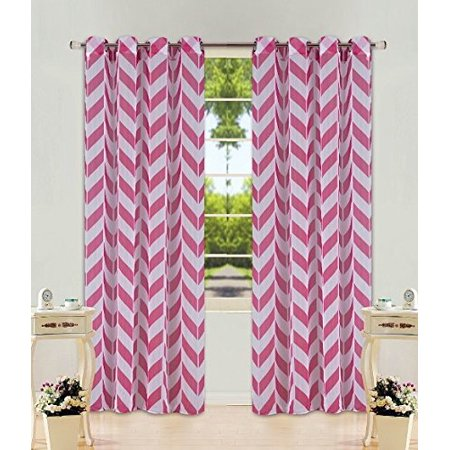 "1 Panel Chevron Hot Pink  Two-Tone Pattern Design Voile Sheer Window Curtain 8 Silver Grommets 55"" W X 63"""
