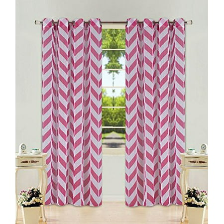 1 Panel Chevron Hot Pink  Two-Tone Pattern Design Voile Sheer Window Curtain 8 Silver Grommets 55