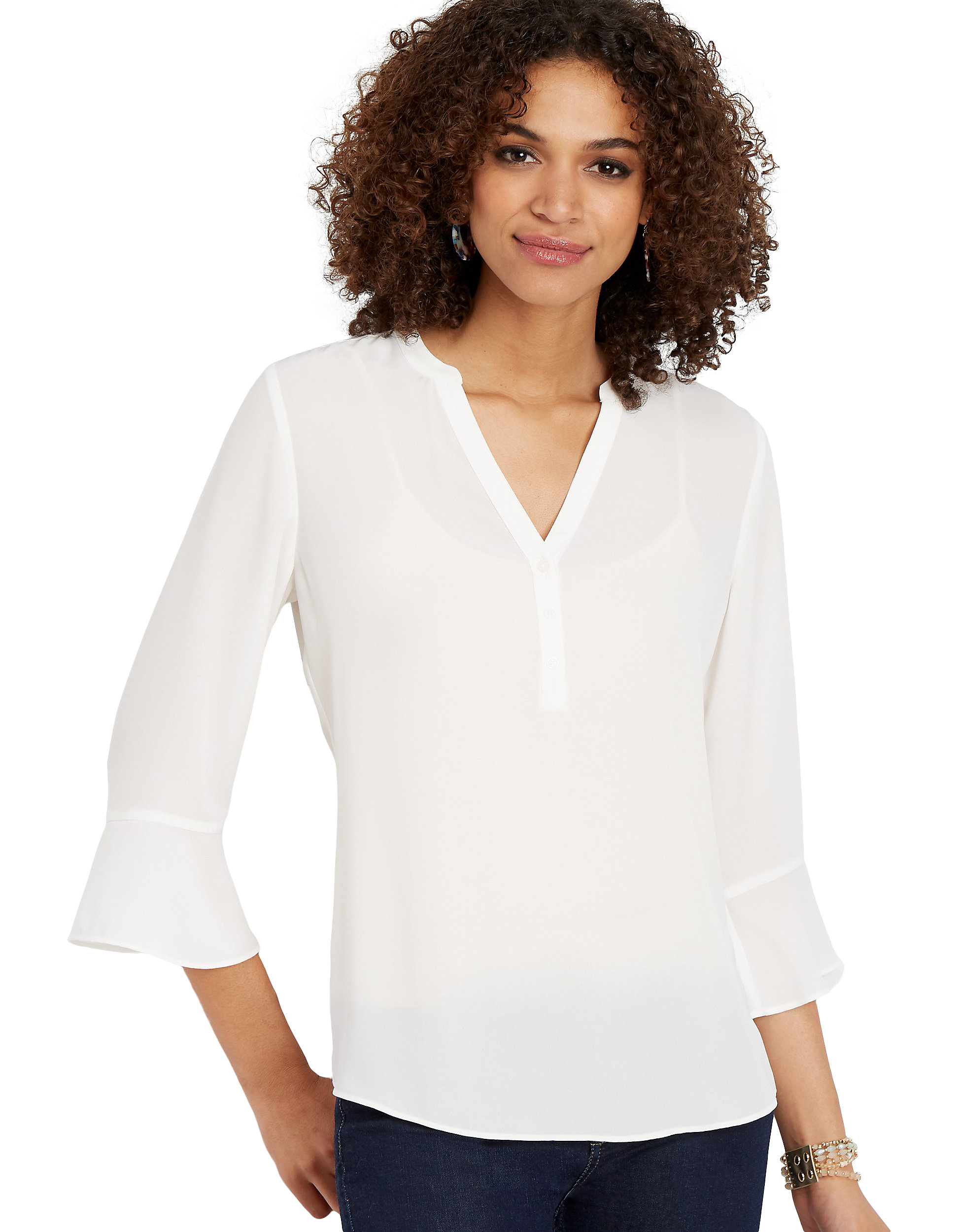 Solid Popover Bell Sleeve Blouse