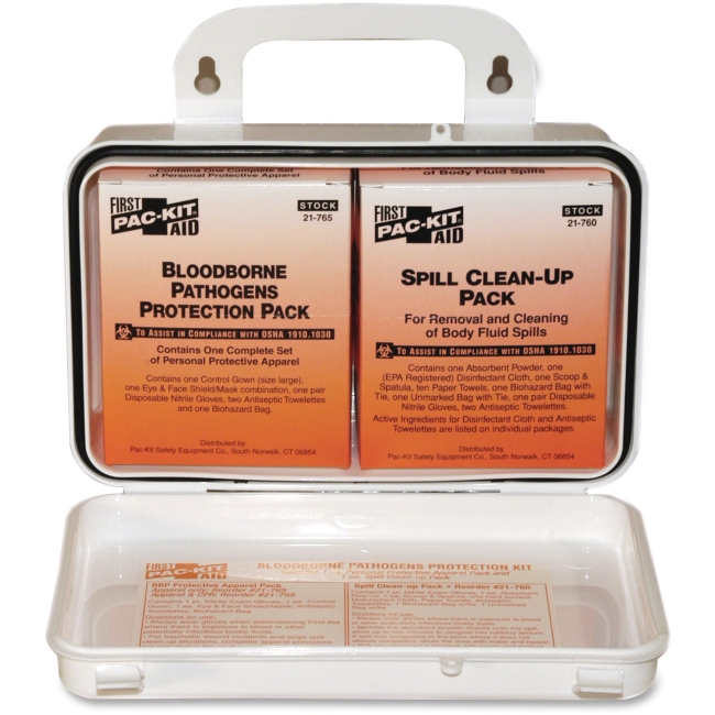 "Pac-Kit Safety Eq. Bloodborne Pathogens Kit - 27 x Piece(s) - 4.5"" Height x 7.5"" Width x 2.8"" Depth - Plastic Case - 1 K"