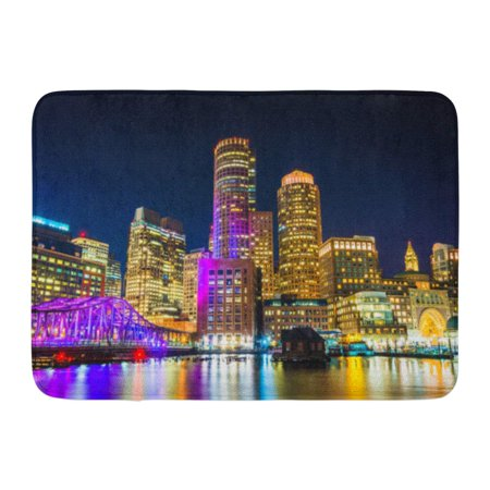 GODPOK Blue The Boston Skyline and Fort Point Channel at Night from Fan Pier Park Massachusetts Colorful Lights Rug Doormat Bath Mat 23.6x15.7 inch