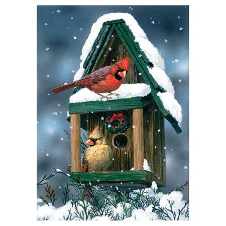 Toland Home Garden Cardinals in Snow Flag - Flags In Bulk