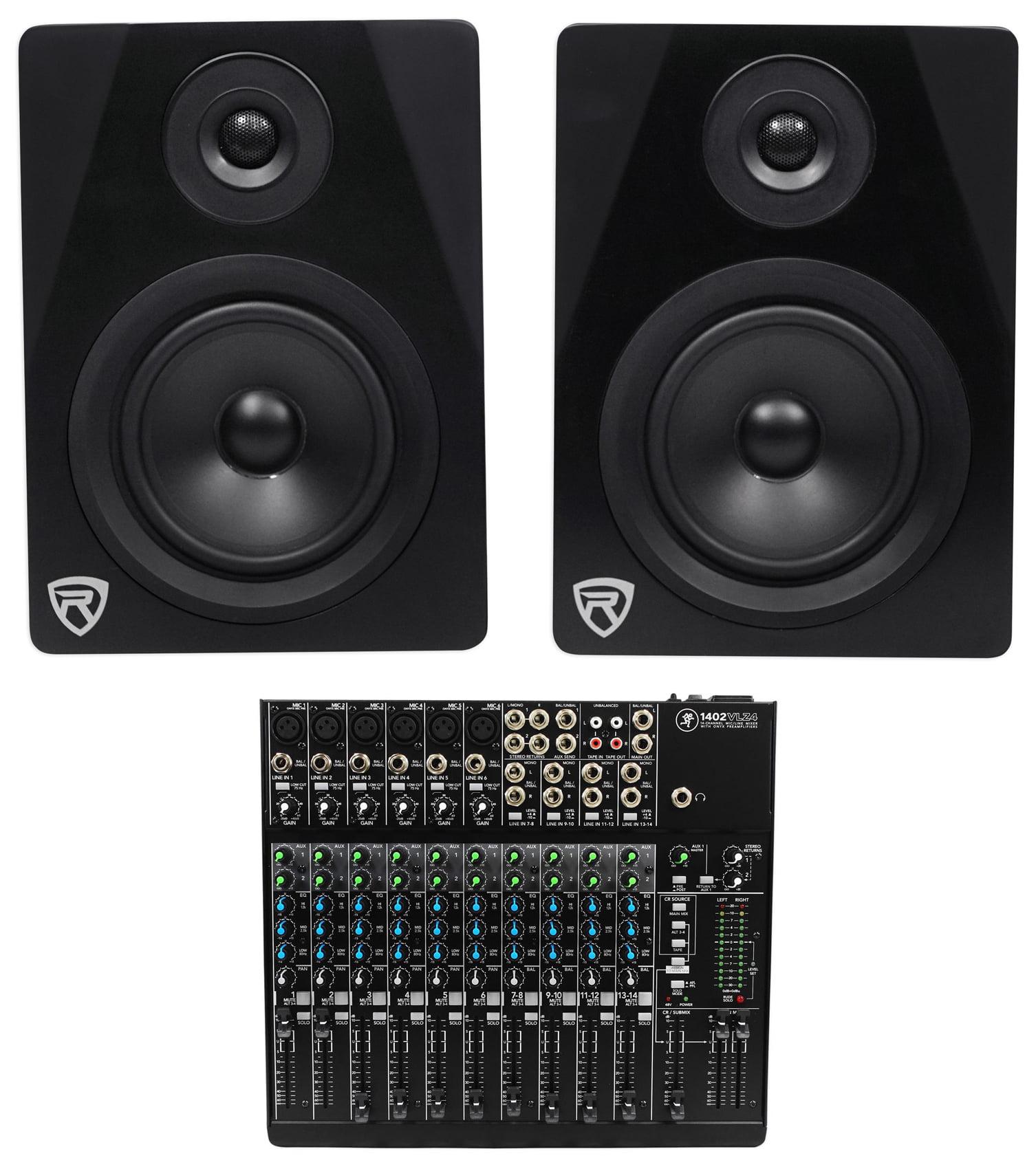 """Mackie 1402VLZ4 14-ch. Analog Mixer w  6 ONYX Preamps+(2) 5.25"""" Studio Monitors by Mackie"""