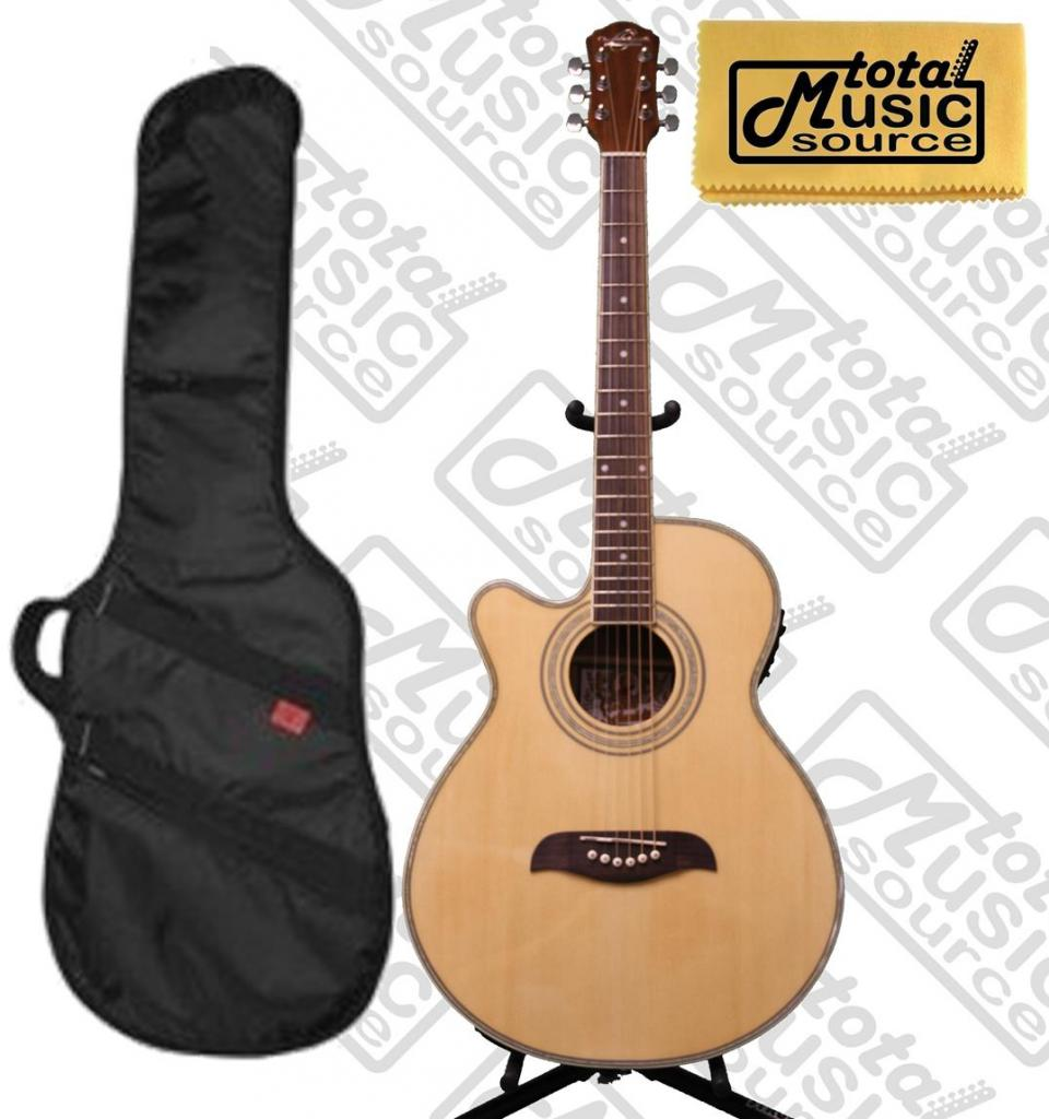 Oscar Schmidt Left Hand Acoustic Electric Guitar w  Kaces Gig Bag, OG10CENLH-KA312 by Oscar Schmidt