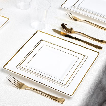 Kaya Collection - Square White and Gold Disposable Plastic Dinnerware Party Package - 20 Person Package - Includes Dinner Plates, Salad/Dessert Plates, Gold Cutlery and Tumblers