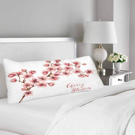 GCKG Watercolor Spring Flowers Cherry Blossom Body Pillow Covers Pillowcase 20x60 inches, Pink Sakura White Body Pillow Case Protector - image 1 of 2