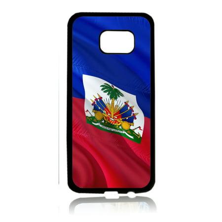 Flag Haiti  - Waving Haitian Flag Print Design Black Rubber Thin Case Cover for the Samsung Galaxy s6 - Samsung Galaxy s6 Accessories - s 6 Phone Case ()
