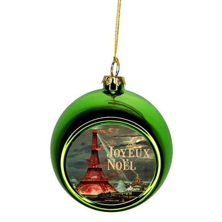 Paris Christmas Ornament.Ornaments Vintage Eiffel Tower Paris France Parisian Design Joyeux Noel Ornaments Green Bauble Christmas Ornament Balls