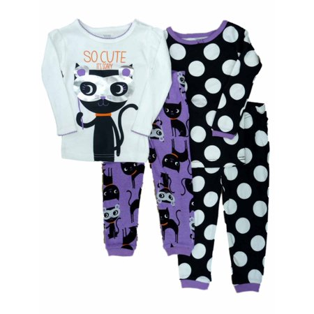 Carters Infant Girls 4 PC So Cute Its Scary Halloween Sleep Set Pajamas 2 PK 12m (Scary Halloween Girl)