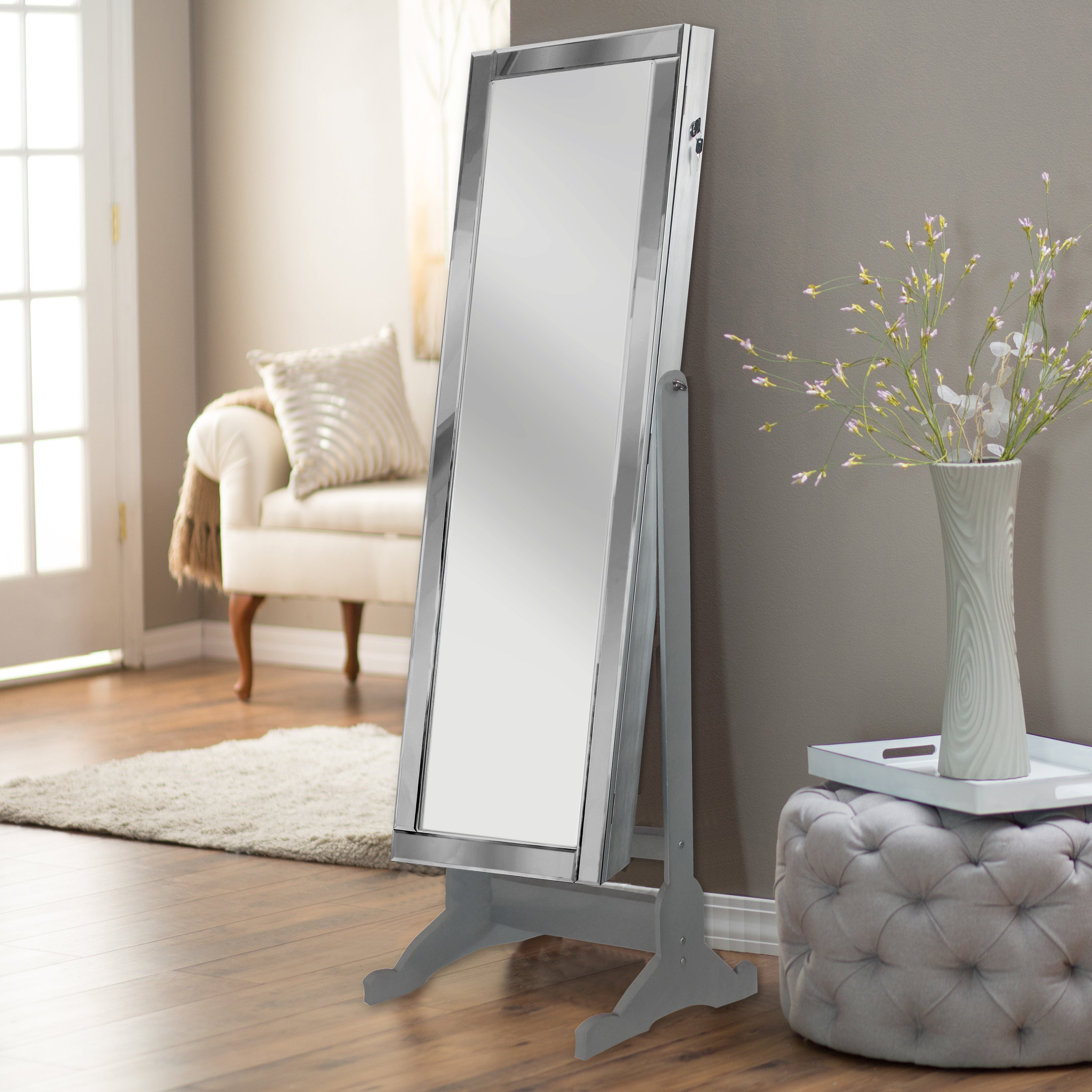 Chic Home Daze Modern Contemporary Mirror Border Rectangular Jewelry Armoire Cheval Mirror, Full-length Classic Silver