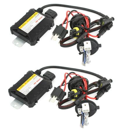 Unique Bargains 2 Pcs 8000K 35W 12V H4 Bi-xenon H/L Xenon Bulb HID Ballast Conversion Kit