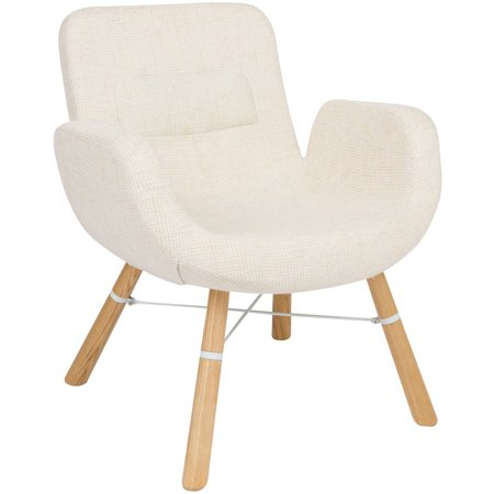 Outstanding Leisuremod Milwood Accent Chair W Dowel Legs In Beige Twill Fabric Ocoug Best Dining Table And Chair Ideas Images Ocougorg