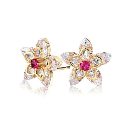 Flower Design Stud Earrings Womens or Girls Marquise Cubic Zirconia