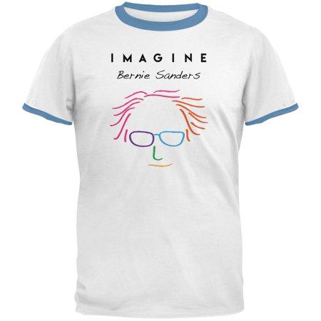 Election 2016 Bernie Sanders Imagine White Sky Blue Mens Ringer T Shirt