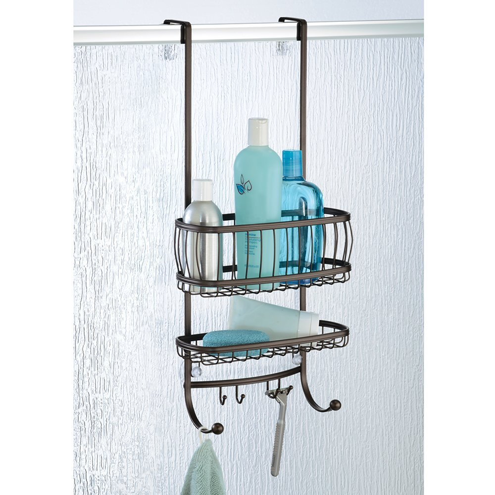 York Lyra - Bathroom Over-The-Door Shower Caddy - Bronze - 10 x 8 x ...