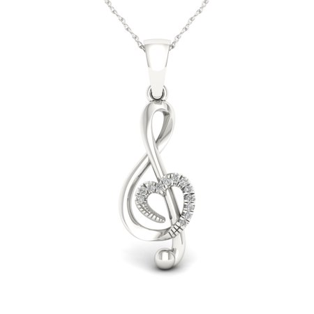 1/20Ct TDW Diamond S925 Sterling Silver Treble Clef Necklace ()