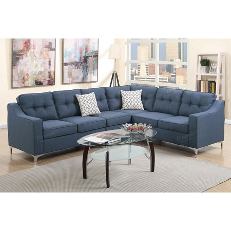 Contemporary Navy Linen-Like Fabric Upholstery Reversible Sectional Sofa  Set with Accent Pillows
