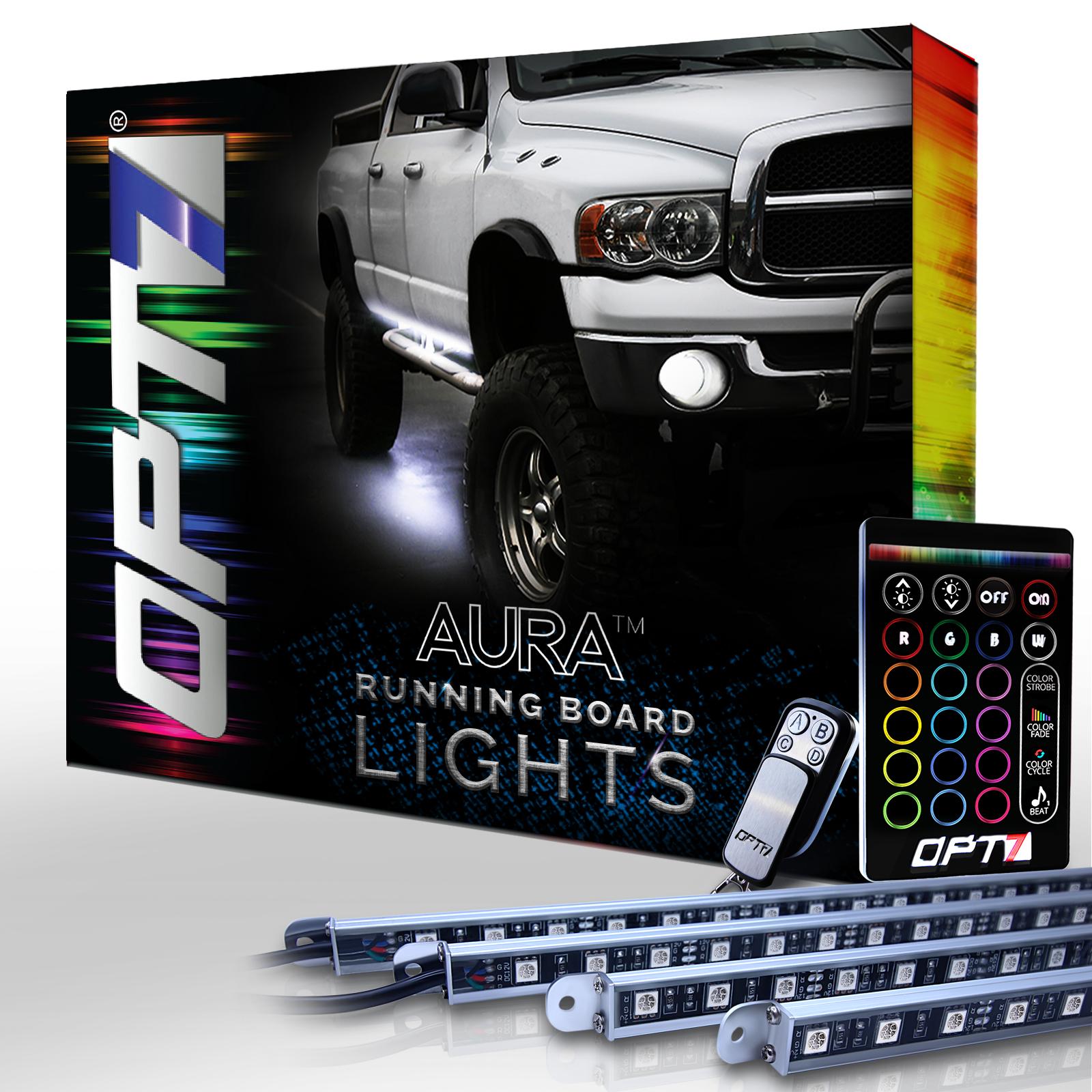 Aura LED Running Board Lights by OPT7 Lighting - Nerf Light Side Bar Step Kit for Trucks, SUVs, RV, & Big Rigs - 4 Bars, 16 Color Options, Flash Settings, Sound Sync Mode & 2 Remotes - 1 YR Warranty