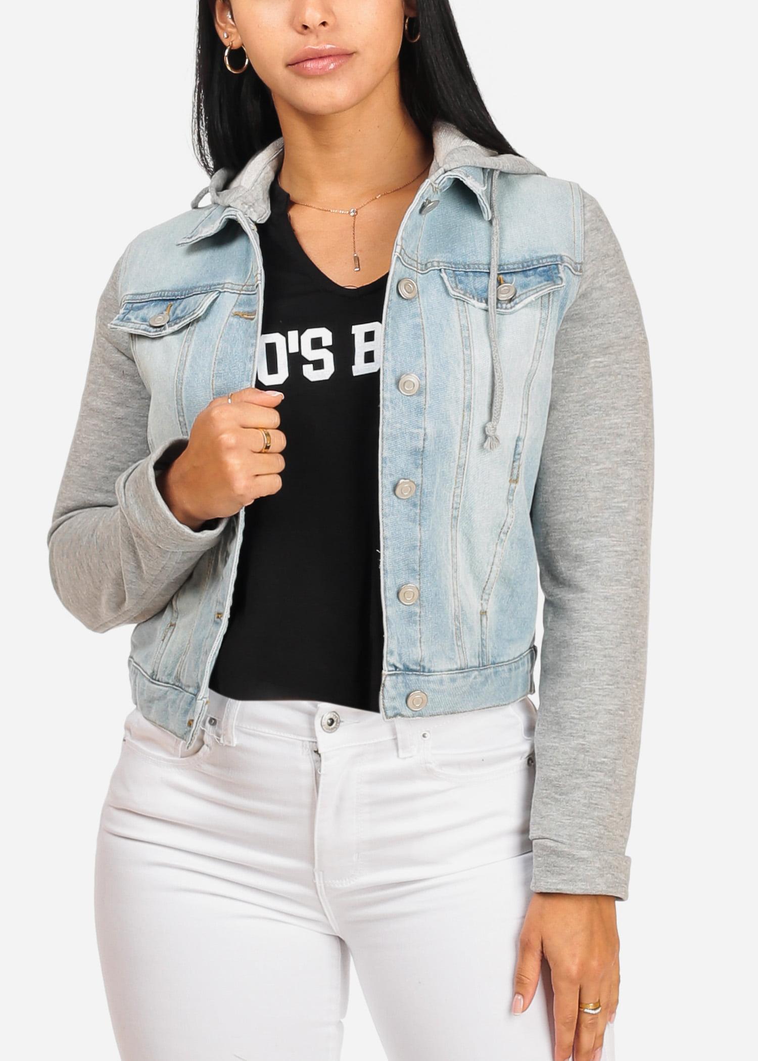 Womens Juniors Cute Drawstring Hood Long Sleeve Jersey Light Wash Denim Jacket 41319P
