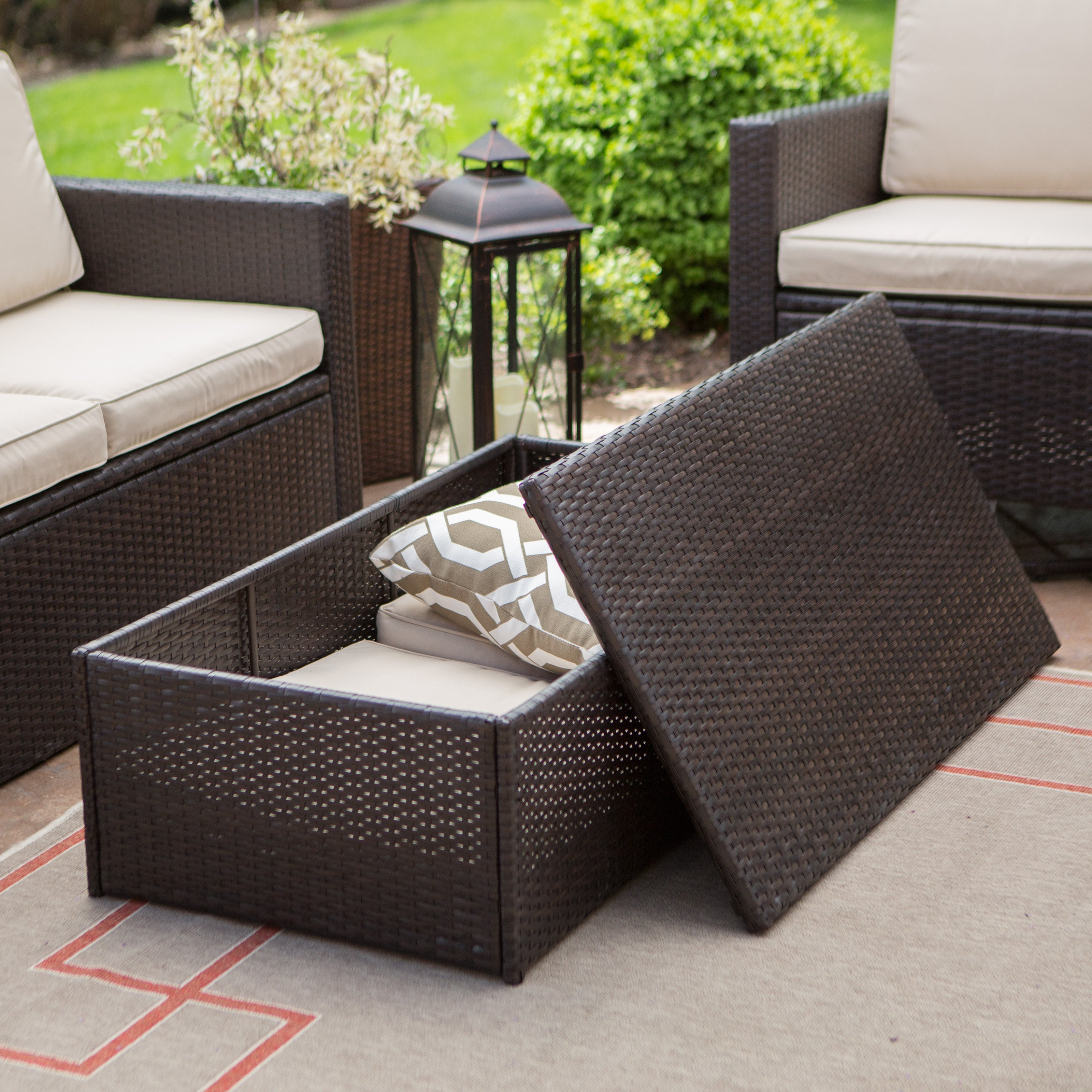 Coral Coast Berea Wicker 4 Piece Conversation Set With Storage   Walmart.com