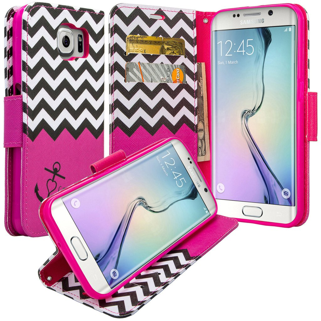 Galaxy S6 Edge Plus Case, Slim Folio [Kickstand] Pu Leather Wallet Case with ID&Credit Card Slot Phone Case for Samsung Galaxy S6 Edge Plus - Hot Pink Anchor