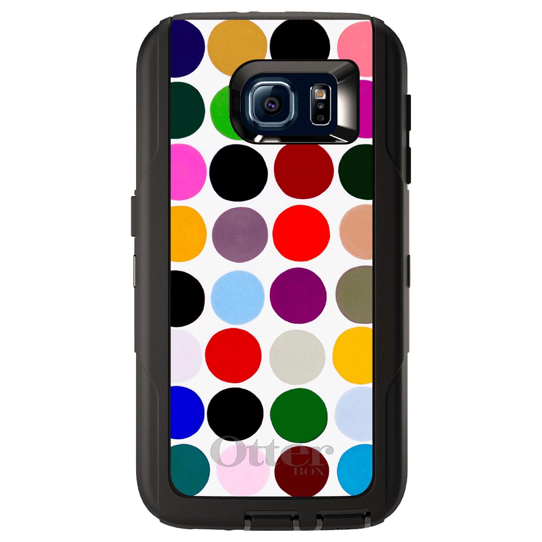 DistinctInk™ Custom Black OtterBox Defender Series Case for Samsung Galaxy S6 - Rainbow Polka Dots