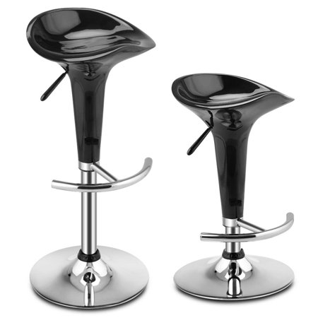 Costway Set of 2 Modern Bombo Style Swivel Barstools Adjustable Counter Chair Bar Stools (Black)